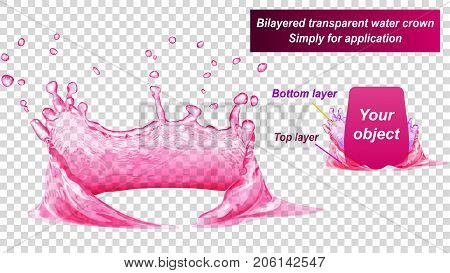 Transparent water crown consist of two layers: top and bottom. Splash of water in pink colors isolated on transparent background. Transparency only in vector file