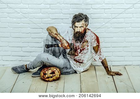 Halloween Bearded Hipster With Red Blood Splatters