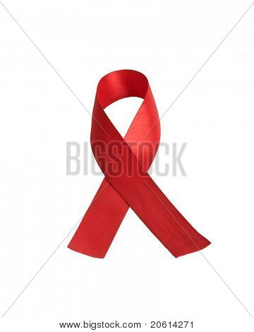 Aids awareness red ribbon isolated on white background
