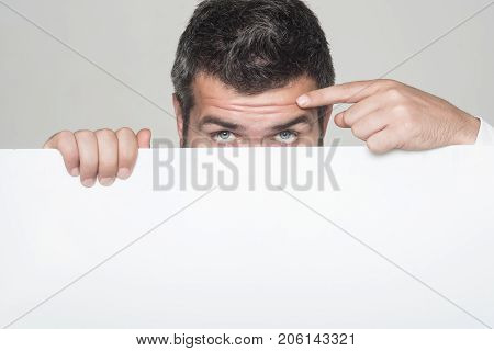 Hipster Hide Face Behind White Paper.