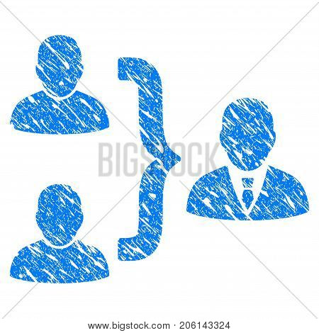 Grunge User Union icon with grunge design and dirty texture. Unclean vector blue User Union pictogram for rubber seal stamp imitations and watermarks. Draft sign symbol.