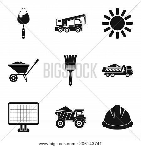 Construction machinery icons set. Simple set of 9 construction machinery vector icons for web isolated on white background