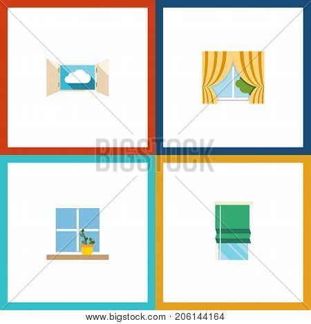 Flat Icon Frame Set Of Glass Frame, Flowerpot, Balcony And Other Vector Objects