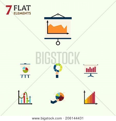 Flat Icon Graph Set Of Easel, Graph, Chart And Other Vector Objects
