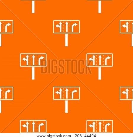 Traffic lanes at crossroads junction pattern repeat seamless in orange color for any design. Vector geometric illustration
