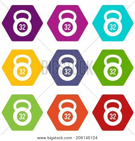 Kettlebell 32 kg icon set many color hexahedron isolated on white vector illustration