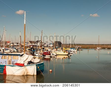 Boats Close Up Moored In Dock Harbour Tollesbury Maldon