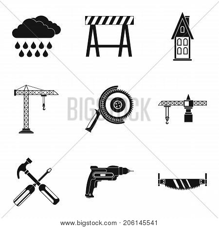 Building tool icons set. Simple set of 9 building tool vector icons for web isolated on white background
