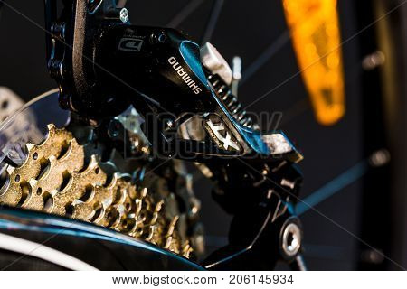 BERLIN, GERMANY - June 06, 2016: Details of the mountain bike MTB company Shimano