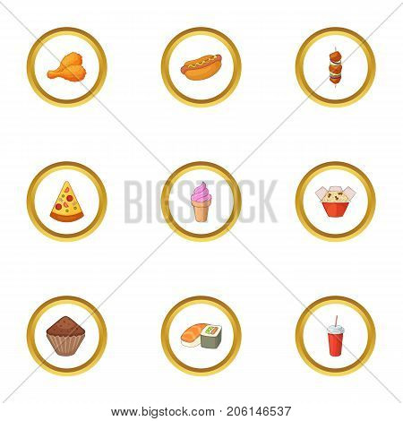 Snacks icons set. Cartoon style set of 9 snacks vector icons for web design