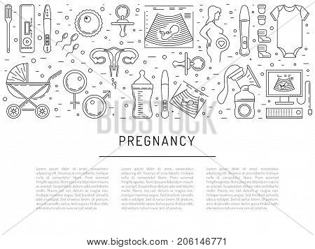 Vector icons pregnancy, obstetrics, gynecology outline icons. Medicine symbols mother, newborn health care, diagnostic equipment. The theme of planning children