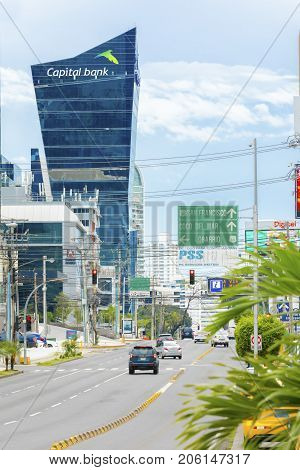 Panama City August 2017: In August tourists visit this part of the city's pulsating heart of the country's economy because it is full of trade shops and great restaurants