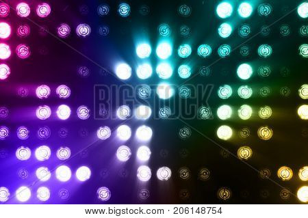 Bright Floodlights Flashing Abstract Colorful Background