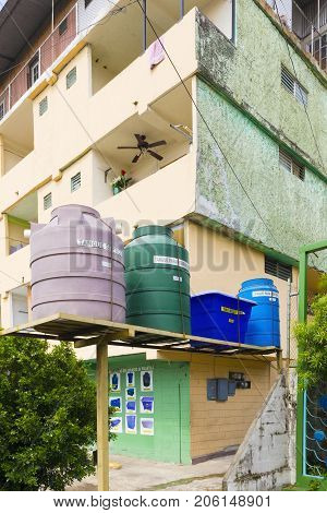 Panama City August 2017: Outside of many homes tanks that collect a water reservoir directly from the public aqueduct are installed to maintain autonomy at moments when the water supply service is interrupted