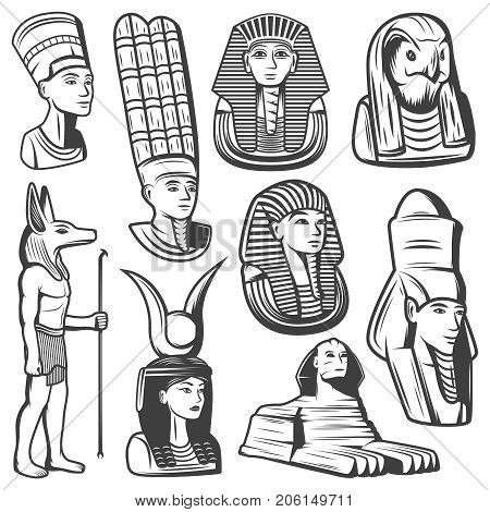 Vintage monochrome ancient Egypt people set with pharaoh mask sphinx egyptian gods and goddesses isolated vector illustration