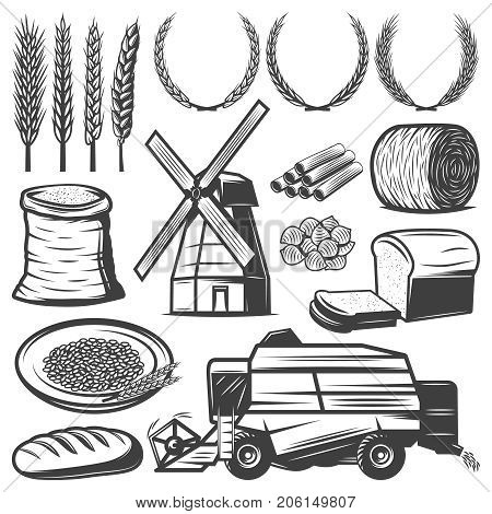 Vintage agriculture elements set with wheat ears wreathes hay flour bread pasta windmill combine harvester isolated vector illustration