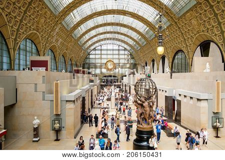 PARIS,FRANCE - AUGUST 1,2017 : Interior of the the Musee d'Orsay in Paris, known for its collection of impressionist masterpieces