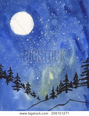 Watercolor hand drawn nightscape with moon trees and stars in the sky