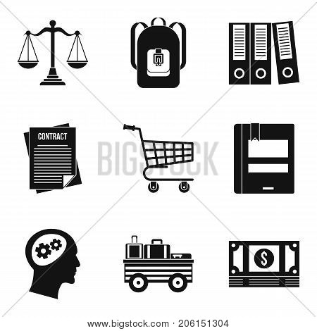 Satchel icons set. Simple set of 9 satchel vector icons for web isolated on white background