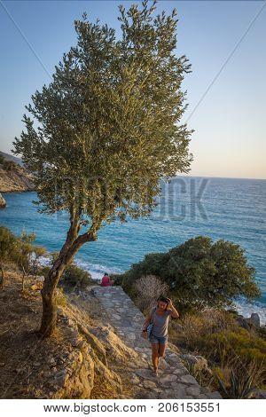 Turkey, Oludeniz. Sea view from the coastal park