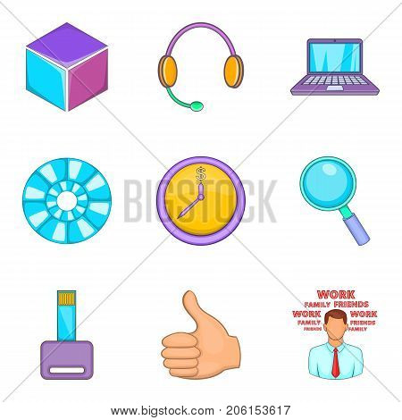 Work hard icons set. Cartoon set of 9 work hard vector icons for web isolated on white background