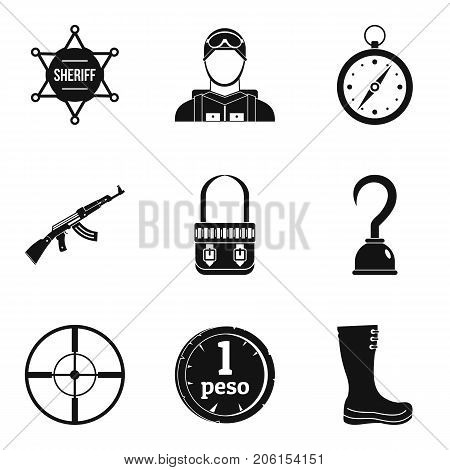 Police stuff icons set. Simple set of 9 police stuff vector icons for web isolated on white background