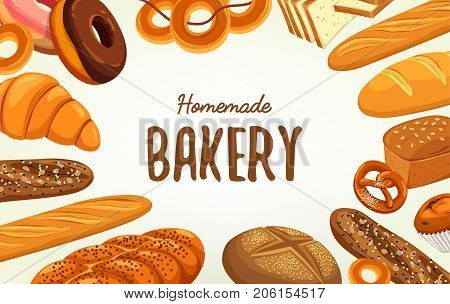 Banner with loaf of bread and baguette, baton and kifli, challah or challot, kringle and french doughnut, croissant and multigrain pretzel. Bakehouse sign and shop advertising, food and pastry theme