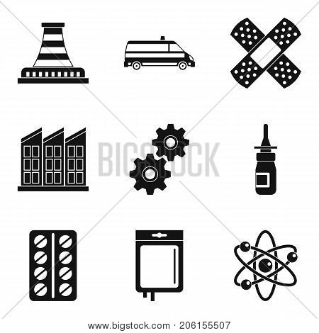 Chemical factory icons set. Simple set of 9 chemical factory vector icons for web isolated on white background