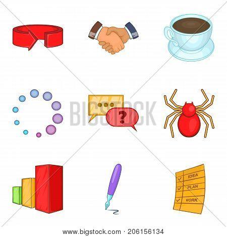 Industrial espionage icons set. Cartoon set of 9 industrial espionage vector icons for web isolated on white background