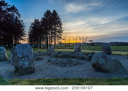 Cullerlie Stone Circle at sunset, Aberdeenshire, Scotland.