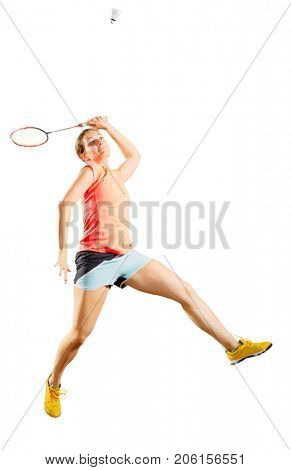 Young woman badminton player isolated on white (ver with shuttlecock)