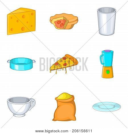 Cooking pie icons set. Cartoon set of 9 cooking pie vector icons for web isolated on white background