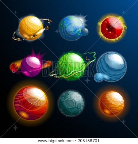 Set of isolated cosmos stars or planets with satellite or galaxy globe or sphere. Cartoon orbs with holes and craters on its surface. Science and exploration, universe and astronomy, space travel theme