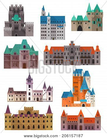 Retro or old medieval castles made of stone. Set of isolated fort buildings with towers and gates. Tourism architecture landmarks and historic sights. Chivalry and history, kingdom and monument theme