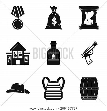 Robbery icons set. Simple set of 9 robbery vector icons for web isolated on white background