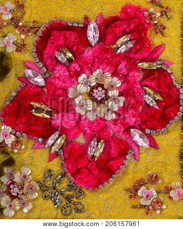 Handbag background- Embroidered hand made flowers with flowers. surface textures