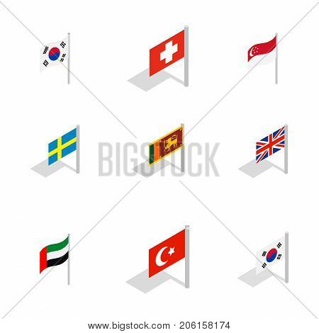 Country flag icon set. Isometric set of country flag vector icons for web isolated on white background