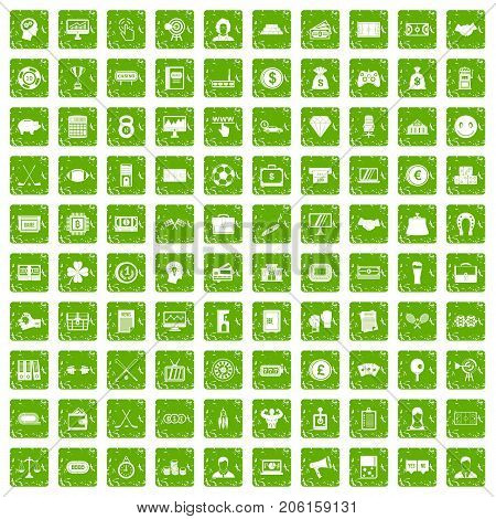 100 sweepstakes icons set in grunge style green color isolated on white background vector illustration