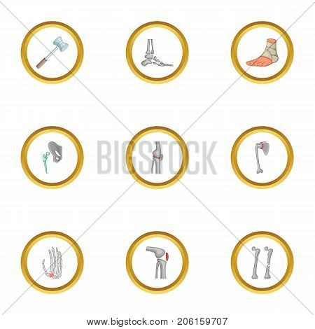Traumatology and orthopedic icons set. Cartoon style set of 9 traumatology and orthopedic vector icons for web design