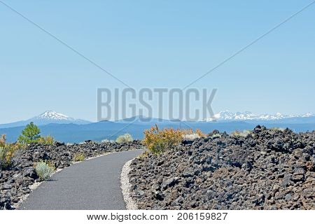Picture of a volcanic landscape at Lava Butte (Newberry National Volcanic Monument) near Bend in Central Oregon, USA.
