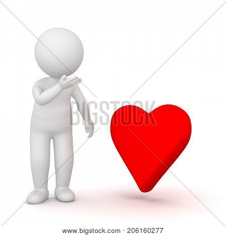 3D Rendering of a shy man looking at a red heart shape on white background