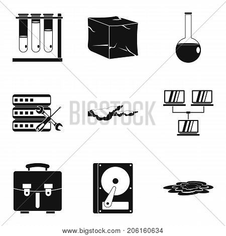 Chemical industry icons set. Simple set of 9 chemical industry vector icons for web isolated on white background