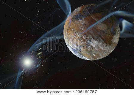 Rocky Dry Alien Planet Blown Atmosphere