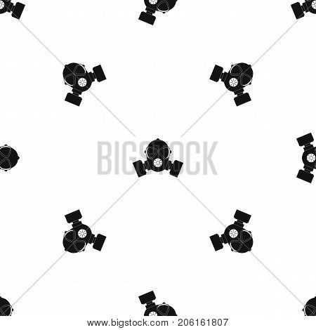 Respirator pattern repeat seamless in black color for any design. Vector geometric illustration