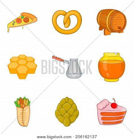 Sweet stuffing icons set. Cartoon set of 9 sweet stuffing vector icons for web isolated on white background
