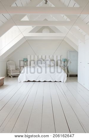 Interior View Of Beautiful Light And Airy White Bedroom