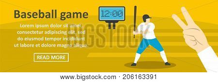 Baseball game banner horizontal concept. Flat illustration of baseball game banner horizontal vector concept for web design