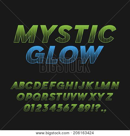 Mystic Glow. Bold Italic Font. Sans Serif Typeface. Letters, Numbers, Punctuation Marks. Latin Alphabet. Vector