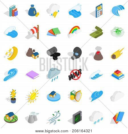 Force icons set. Isometric style of 36 force vector icons for web isolated on white background