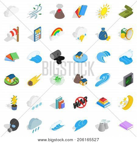 Nature force icons set. Isometric style of 36 nature force vector icons for web isolated on white background
